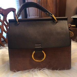 Chocolate Brown and Camel Handbag w/Shoulder Strap